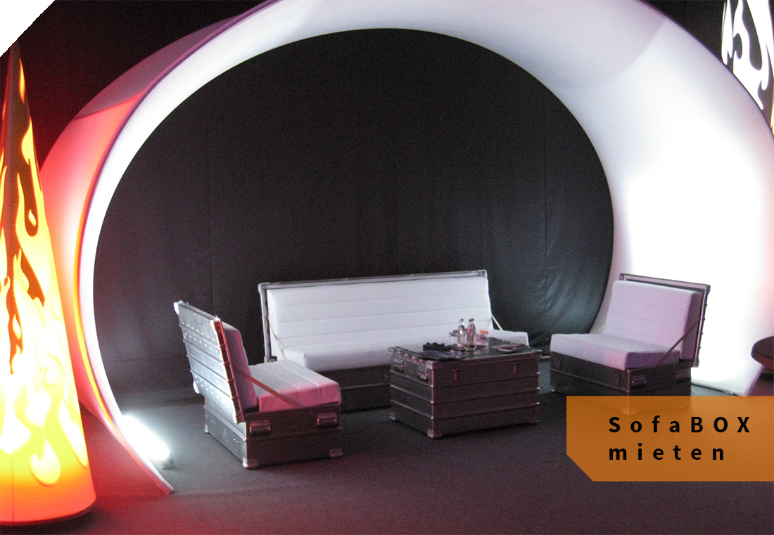 Das SofaBox als Set – eine innovative Eventlounge.